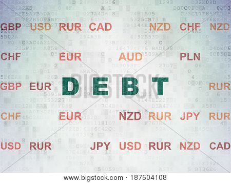 Money concept: Painted green text Debt on Digital Data Paper background with Currency