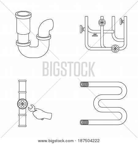 A siphon, a towel warmer and other equipment.Plumbing set collection icons in outline style vector symbol stock illustration .