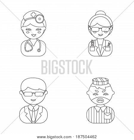 Doctor, scientist, businessman, prisoner.Profession set collection icons in outline style vector symbol stock illustration .
