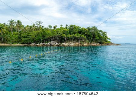 Snorkeling point with beautiful coralscape at Racha Island Phuket Thailand