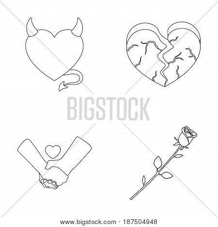 Evil heart, broken heart, friendship, rose. Romantic set collection icons in outline style vector symbol stock illustration .