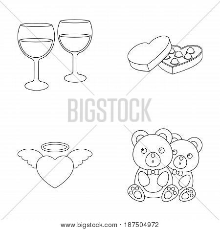 Glasses with wine, chocolate hearts, bears, valentine.Romantik set collection icons in outline style vector symbol stock illustration .
