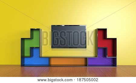3d illustration of an entertainment unit with a tv in a living room