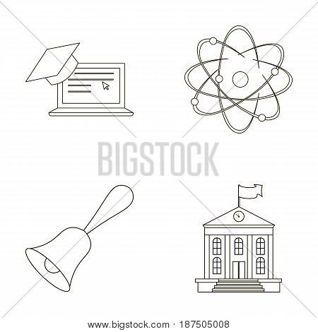 Computer, cap, atom, nucleus, bell, university building. School set collection icons in outline style vector symbol stock illustration .