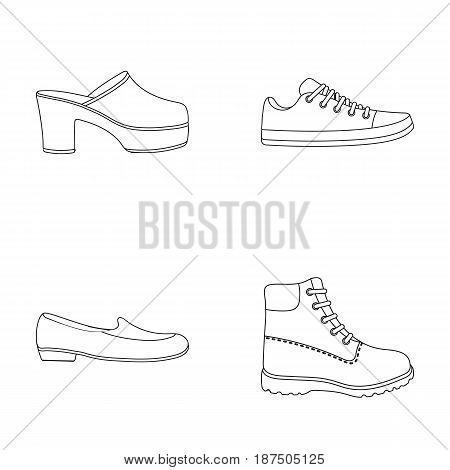 Flip-flops, clogs on a high platform and heel, green sneakers with laces, female gray ballet flats, red shoes on the tractor sole. Shoes set collection icons in outline style vector symbol stock illustration .
