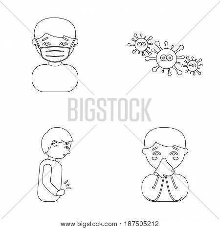 A man in a medical mask, a man who has a stomachache, a boy with a handkerchief, viruses, germs, bacteria. Sick set collection icons in outline style vector symbol stock illustration .