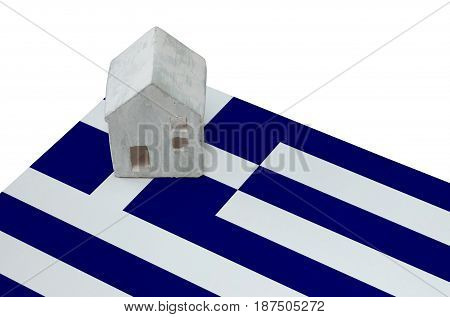 Small House On A Flag - Greece