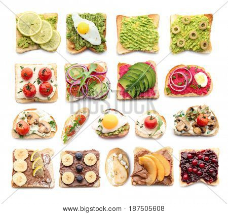 Tasty sandwiches on white background