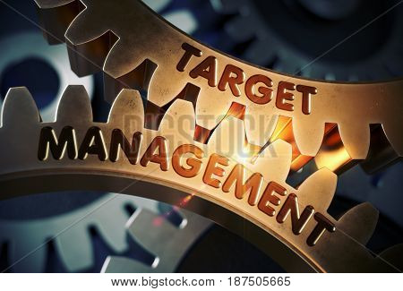 Target Management - Industrial Illustration with Glow Effect and Lens Flare. Target Management on the Mechanism of Golden Gears with Glow Effect. 3D Rendering.