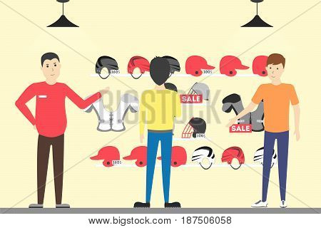 Sport store interior. Salespeople with visitors. Buying sports helmets.