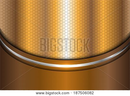 Abstract gold silver line curve hexagon mesh design modern luxury background texture vector illustration.
