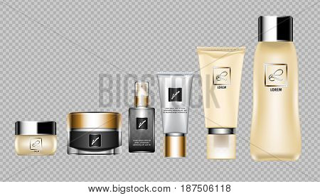 Digital vector brown skin care cream, lotion and perfume cosmetic container set mockup collection, your brand package, print ads or magazine design. Transparent and shine template, realistic 3d style