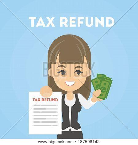 Tax refund document. Taking money back. Happy businesswoman