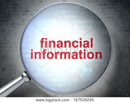 Business concept: magnifying optical glass with words Financial Information on digital background, 3D rendering