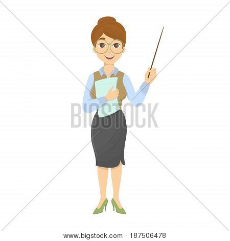 Teacher with chalkboard and pointer on white background.