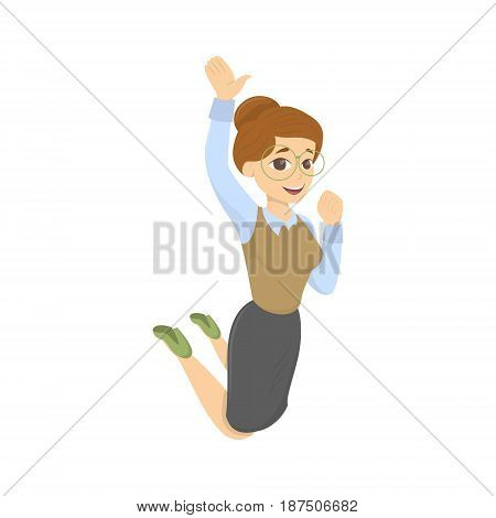 Isolated smiling and jumping teacher on white background.