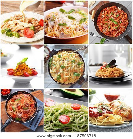 Collage of delicious pasta with different sauces