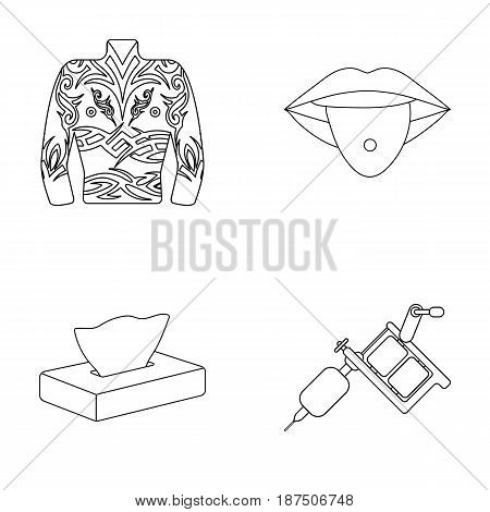 Body tattoos, piercings, napkins, tattoo machine. Tattoo set collection icons in outline style vector symbol stock illustration .