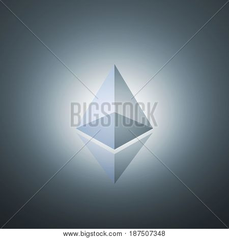ethereum crypto currency 3d rendering image