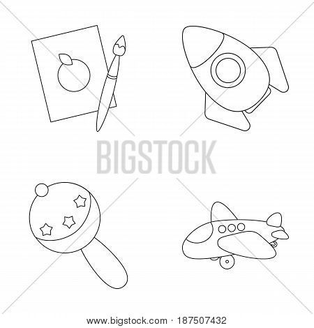 A sheet of paper with an apple pattern, a paint brush, a flying rocket with a porthole, a rattle for a child, an airplane with a chassis and a porthole. Toys set collection icons in outline style vector symbol stock illustration .