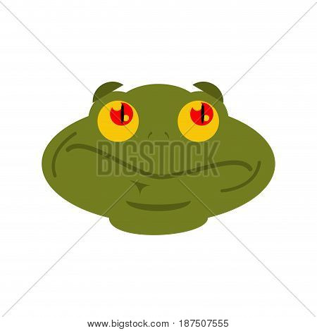 Frog Surprised Emoji. Toad Avatar Astonished Amphibious. Emotion Reptile Face