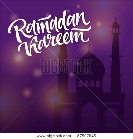 Eid Mubarak - vector illustration with lettering, hand writing and mosque silhouette on blue background - muslim holiday celebration postcard, card, banner