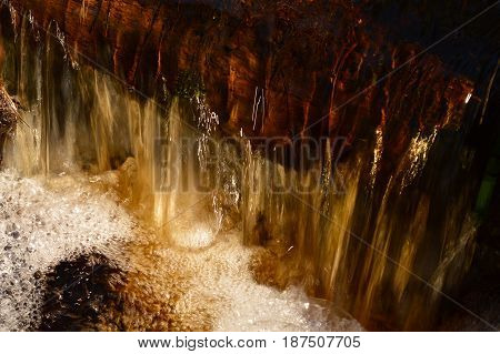 Water turbulent stream of a forest stream in the spring