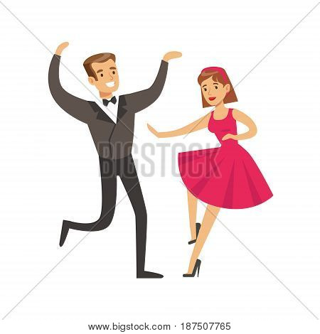 Young couple dancing in elegant clothes colorful character vector Illustration isolated on a white background