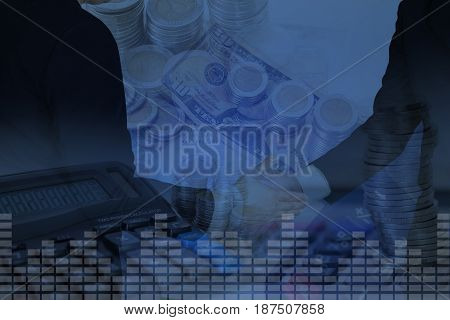 Double Exposure Of Businessman Shake Hand With Stack Of Coins, Account Book And Calculator Backgroun