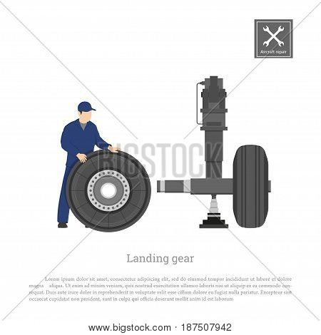 Repair and maintenance of aircraft. Engineer fix the wheel on landing gear of airplane. Industrial drawing in a flat style. Vector illustration