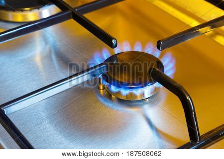 Flames of gas - kitchen stove background