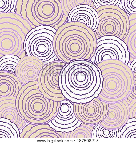 Abstract uneven circle elements in optical art style, seamless futuristic low contrasting background in pink and purple colors, vector EPS 10