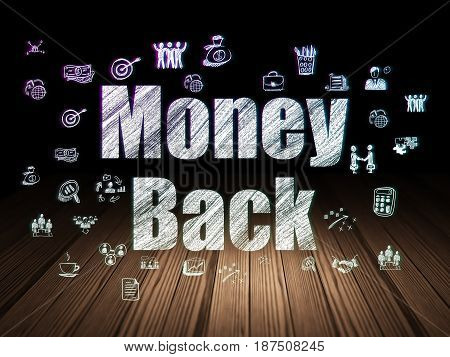 Finance concept: Glowing text Money Back,  Hand Drawn Business Icons in grunge dark room with Wooden Floor, black background