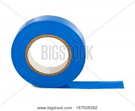 Blue insulating tape isolated on white background
