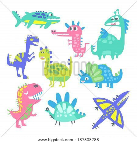 Funny cartoon dinosaurs set. Prehistoric animal characters vector Illustrations isolated on a white background