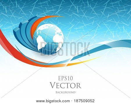 vector statistic concept. Illustration with globe and bar graphs. Template for your design. Eps10