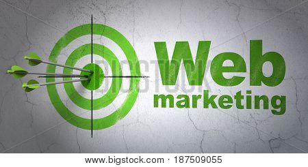 Success web design concept: arrows hitting the center of target, Green Web Marketing on wall background, 3D rendering