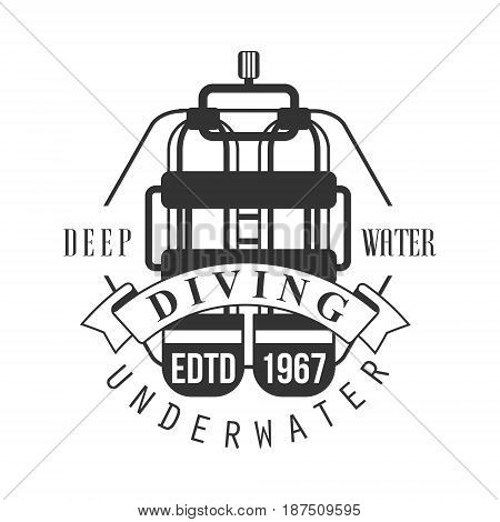 Diving underwater deep water edtd 1967 logo. Black and white vector Illustration for diver school or club emblem, elements for badge, print, tattoo, label