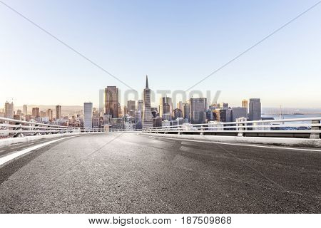 empty road with landmark buildings in san francisco
