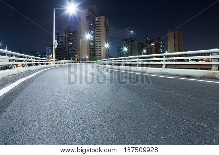 night scene of empty road in midtown of shanghai