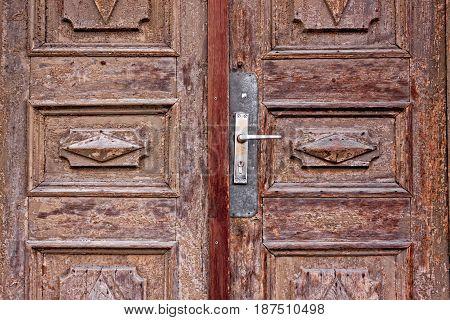Handle Of An Old Wooden Door