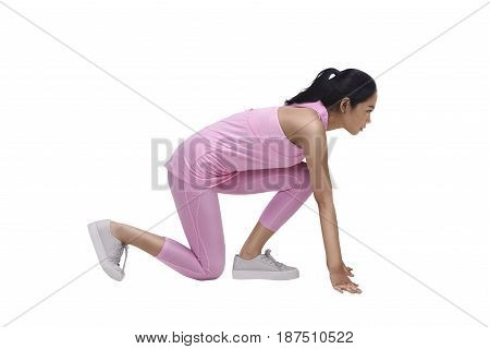 Young Asian Woman Athlete Ready To Running Workout