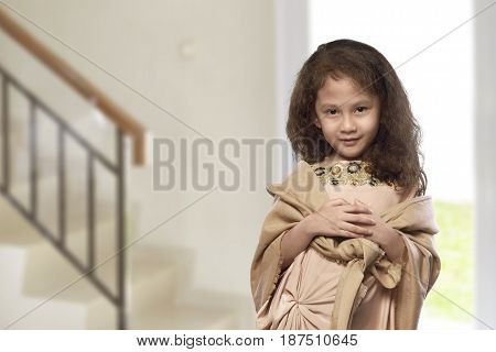 Asian Muslim Kid With Traditional Dress