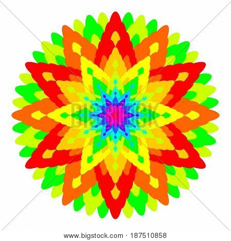Abstract rainbow colored mandala, Flower isolated on white background, Fractal colorful bloom, Multicolor esoteric petal mandala