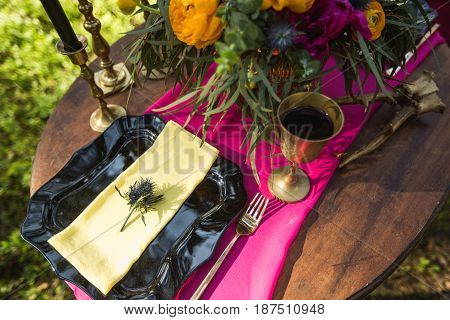 Wedding Decor With Fruit, Flowers, Candles On A Table In Style Of A Boho-chic. Decoration Of A Weddi