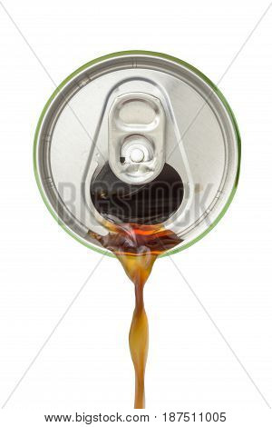 Top view of soda pouring from the aluminum beverage can on white background.