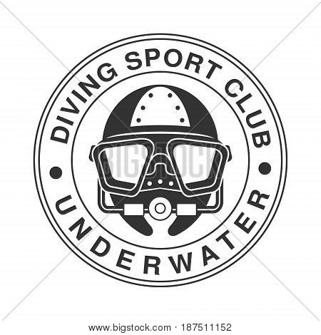 Underwater diving sport club vintage logo. Black and white vector Illustration for diver school or club emblem, elements for badge, print, tattoo, label