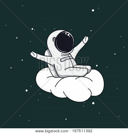 Happy astronaut rejoices and playing on cloud.Childish vector illustration