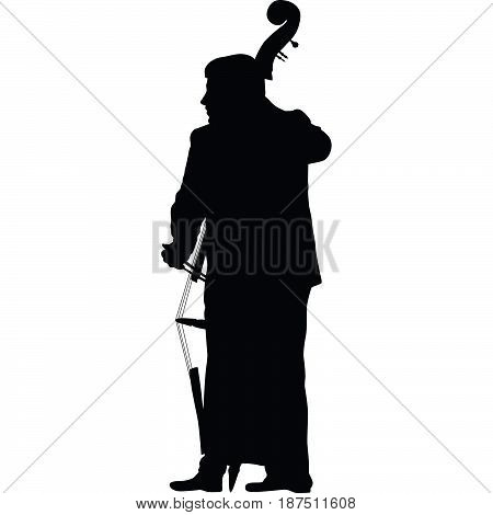 man standing and play contrabass silhouette vector