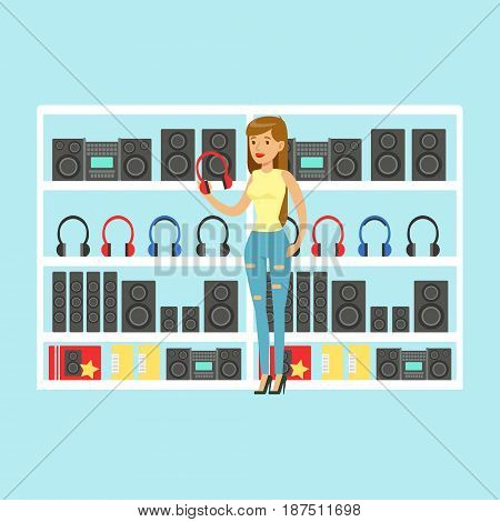 Young woman choosing headphones at tech store colorful vector Illustration, cartoon characters